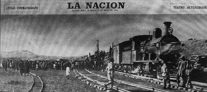 La une dans la Nacion, Arrivée du train de Buenos Aires à Bariloche en 1934